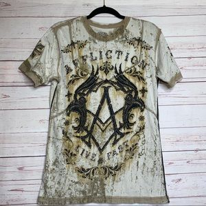 Affliction Live Fast Short Sleeve Tee Size S